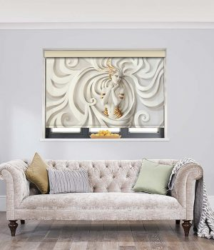 Woman-on-White-Relief-Roller-Blind