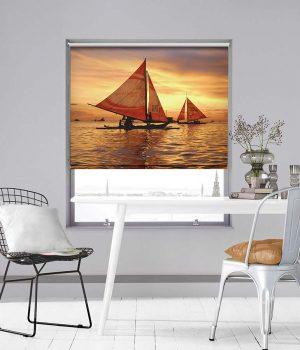 Sail Boats on Boracay Photo Roller Blind
