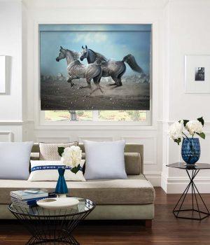Black Horse Photo Roller Blind